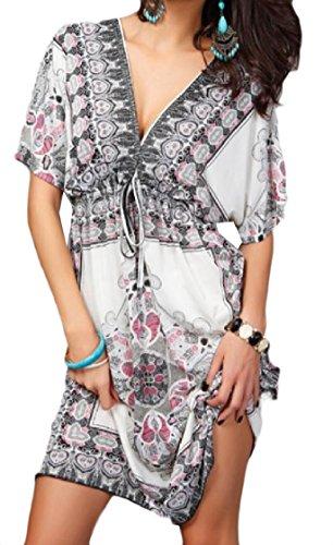 Boho Women Dress White Collar Print Backless Beach Short Notch Coolred xtwadAqHH