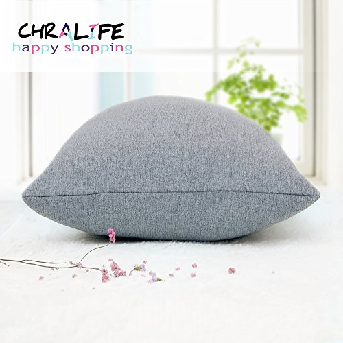 Throw Pillow Case Linen Square Decorative Cushion Cover Soft Handmade Simple Thick Pillowcases with Zipper for Bed Sofa Car Room Office Chair Home 18x18 inch (45x45 cm) by CHRALIFE Light Grey