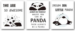 Unframed Adorable Panda Art Print&Motivational Words Wall Art, Set of 3(8''x10'') Canvas Dream Big Little Panda Print for Nursery and Kids Room Decor