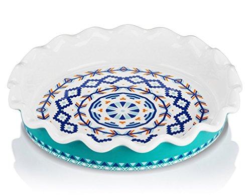 Lifver 10.5 - inch Ceramic Deep Non-stick Pie Dish, Mandala Style by Lifver