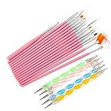WEIHUALI 20 Pcs Nail Art Brushes Design Set Dotting Painting Drawing Polish Brush Pen Tools Pink