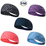 Set of 5 and 10 Women's Yoga Sport Athletic Headband For Running Sports Travel Fitness Elastic Wicking Non Slip Style Bandana Basketball Headbands Headscarf fits all Men & Women (Style 1 - 5 Color A)