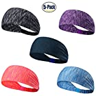 Set of 5 and 10 Women's Yoga Sport Athletic Headband For Running Sports Travel Fitness Elastic Wicking Non Slip Style Bandana Basketball Headbands Headscarf fits all Men & Women (Style 1 – 5 Color A)