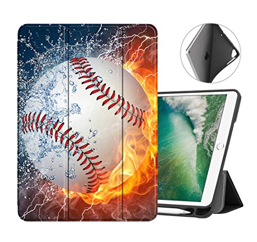 iPad 9.7 2018/2017 Case, iPad Air 2/iPad Air Case, Lightweight Smart Case Trifold Stand with Auto Sleep/Wake Function, TPU Back Cover for iPad 6th/5th Generation - Burning Baseball Fire and Water