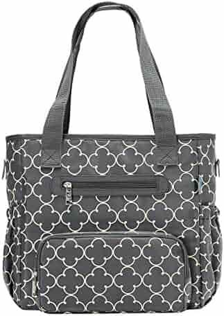 de517d1638b9b SoHo Collection, Grand Central Station 7 Pieces Diaper Bag Set (Gray  Charlotte)