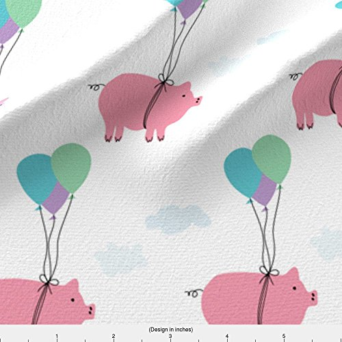 Farm Fabric When Pigs Fly by Heatherdoucette Printed on Fleece Fabric by the Yard by Spoonflower