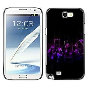 """QCASE / Samsung Note 2 N7100 / """"notas de la música / Delgado Negro Plástico caso cubierta Shell Armor Funda Case Cover"""
