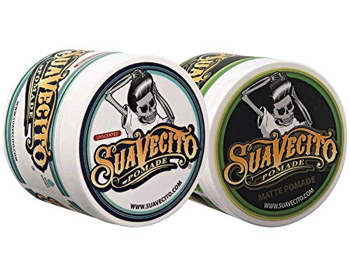 Suavecito Duo Bundle. Original Unscented (4 oz) and Matte Pomade (4 oz) Variations. Strong Hold Styling Hair Pomades for Men.