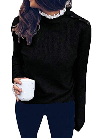 CRYYU Women Lace Up Buttons Trim Casual Relaxed Fit Long Sleeve T-Shirt Top  Blouse at Amazon Women s Clothing store  50b5c519c