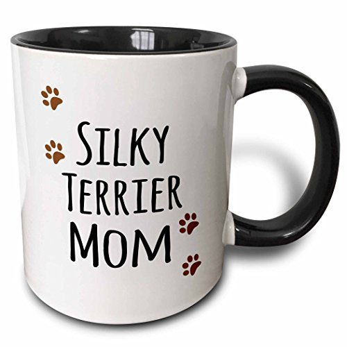 3dRose (mug_154197_4) Silky Terrier Dog Mom - Doggie by breed - muddy brown paw prints - doggy lover proud pet owner mama - Two Tone Black Mug, 11oz