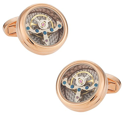 Cuff-Daddy Rose Gold Silver Working Tourbillon Carbon Fiber Watch Cufflinks Steampunk with Presentation ()
