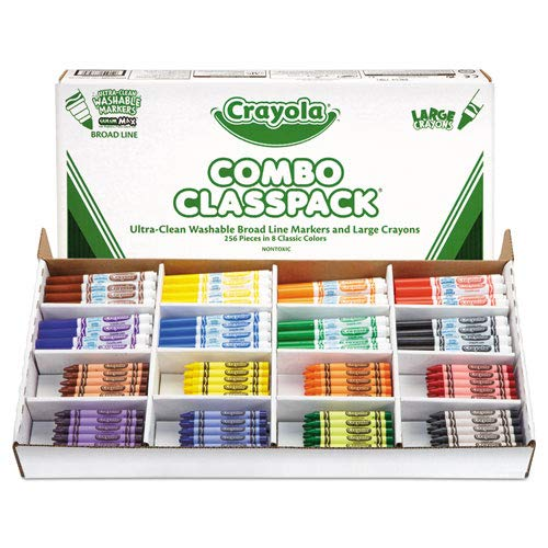 Classpack Crayons w/Markers, 8 Colors, 128 Each Crayons/Markers, 256/Box, Sold as 1 Each by Crayola (Image #1)