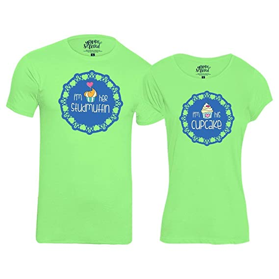 e44fcae481 Bon Organik Cupcake and Studmuffin Combo Tshirts/Printed Cotton T-Shirts  for Men and