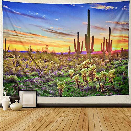 Scene Tapestry Throw - Ameyahud Saguaro Tapestry Desert Sunset Tapestry Wildflower and Cactus Tapestry Wall Hanging Desert Saguaro Tapestry Colorful Desert Scene Tapestry
