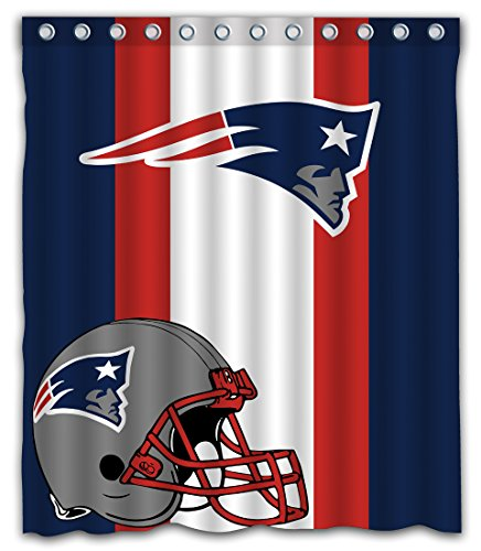 Sonaby Custom Stripe New England Patriots Waterproof Fabric shower curtain For Bathroom Decoration (60x72 Inches)