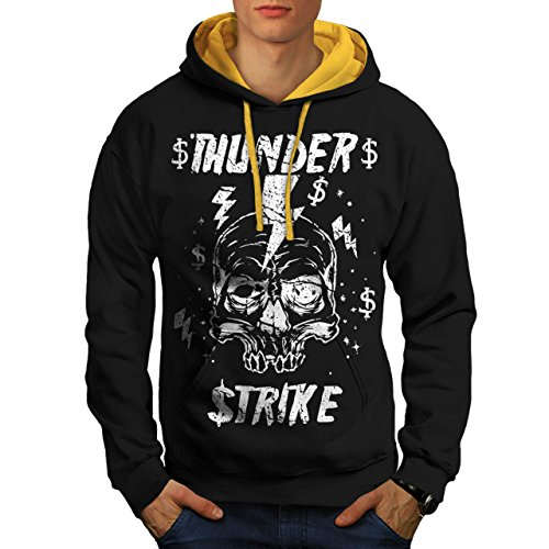 [Skull Thunder Strike Lightning Men XL Contrast Hoodie | Wellcoda] (Thunder Lightning Costume)