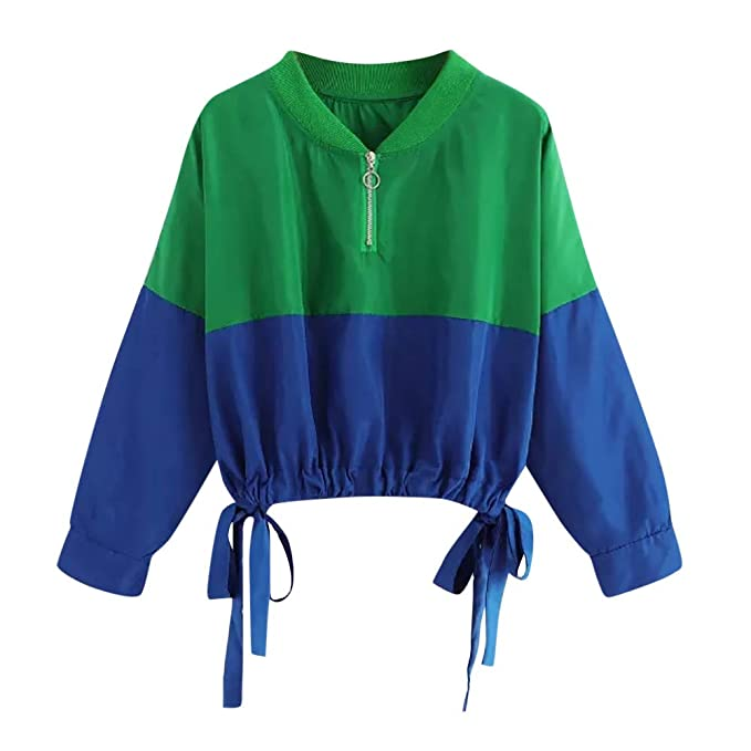 Amazon.com: FimKaul Womens Color Block Splicing Sweatshirt Comfy Zip up Crewneck Pullover Top with Drawstrings Bow: Clothing