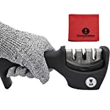 Knife Blade Sharpener for Steel and Ceramic Kitchen Knives - Faster Easier and Safer than a Knife Sharpening Stone or Honing Steel