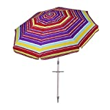 AMMSUN 7 Ft Outdoor Patio Sand Anchor Beach Umbrella with Zinc Tilt and Carry Bag UPF 50+ Silver Coating Inside Multicolor Red