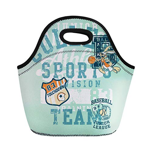 Semtomn Lunch Tote Bag Varsity Cute Sports Division Bunny Mascot for Children Wear Reusable Neoprene Insulated Thermal Outdoor Picnic Lunchbox for Men Women