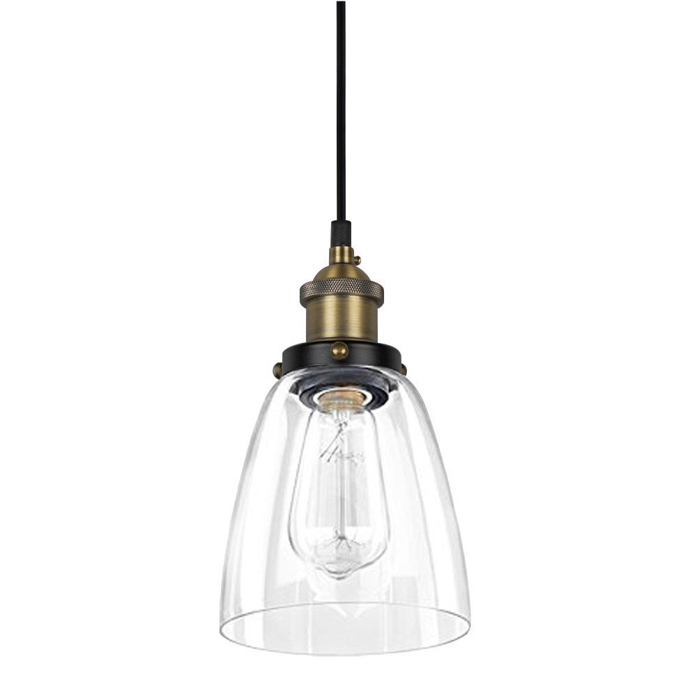 Glass Pendant Light - Industrial Edison Mini One-Light Clear Fixture Antique Lighting ALHAKIN