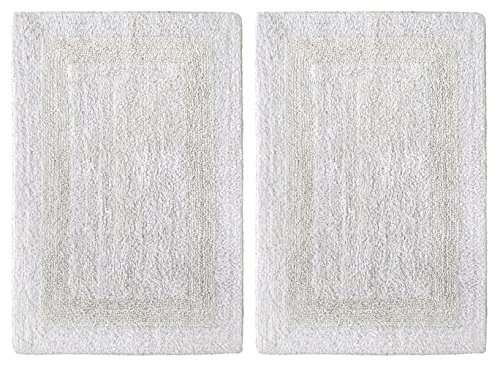 Exceptional Cotton Craft 2 Piece Reversible Step Out Bath Mat Rug Set 17x24 White, 100%  Pure Cotton, Super Soft, Plush U0026 Absorbent, Hand Tufted Heavy Weight ...