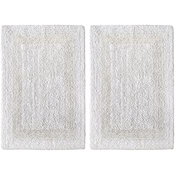 Cotton Craft 2 Piece Reversible Step Out Bath Mat Rug Set 21x34 White 100 Pure Super Soft Plush Absorbent Hand Tufted Heavy Weight