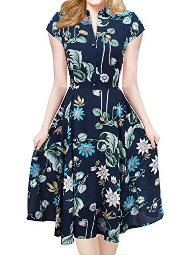 iLover Women V-Neck Cap Sleeve Floral Vintage