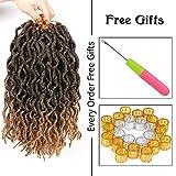 LEEONS 6Packs/Lot 12'' Nu Locs Wavy Faux Locs Boho Locs Crochet Synthetic Braiding Hair Pre-loop Crochet Braids Soft Curly Faux Locs Hair Extensions Braids Dreadlocks 20Roots/PCS(12inch,#T-27)