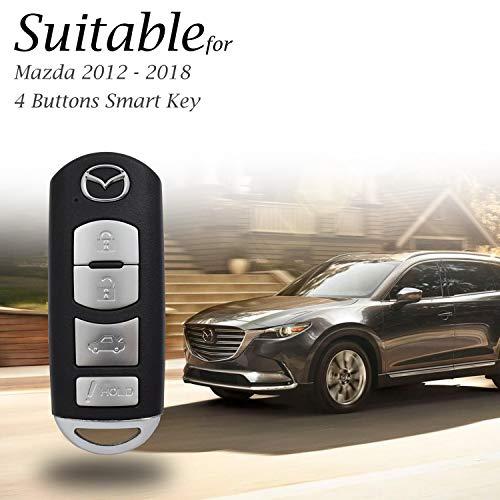 CX-5 Atenza Axela CX-9 MX-5 Miata 4 Buttons, Red Vitodeco Genuine Leather Smart Key Fob Case Cover Protector for Mazda 3 CX-7 6