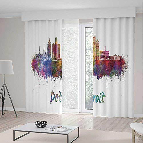 iPrint Detroit Decor Room Decor Curtains,Artistic Skyline in Watercolor Splatters Colorful Grunge American Landmark,Living Room Bedroom Curtain 2 Panels Set,104 W 84 L,Multicolor -