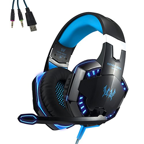 (EasySMX Gaming Heaset Comfortable LED 3.5mm Stereo Gaming Over-Ear Headphone with Mic for PC Computer Game)