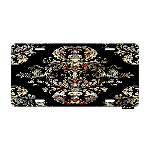 Moslion Floral License Plate Vintage Black Paisley Flower Baroque Leaves Car Tags Aluminum Metal Custom License Plate Cover 6x12 Inch for Truck SUV