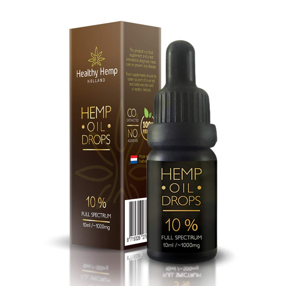 5% Hemp Oil Drops, 500mg Organic Full Spectrum Co2 Extract, Great For Pain, Anxiety & Stress Relief [ 10ml ] Best From The Netherlands Healthy Hemp Holland