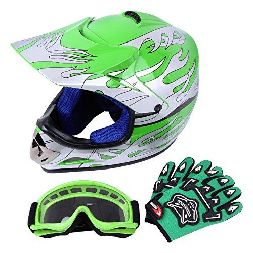 Sange DOT Youth Kids Offroad Helmet Motocross Helmet Dirt Bike ATV Motorcycle Helmet Gloves Goggles (Green, Large) (Kids Green Motorcycle Helmets)