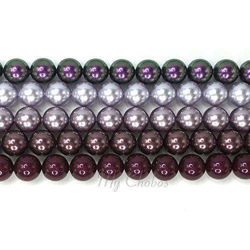 (PURPLE COLORS MIX Swarovski 5810 Crystal Round 5mm Pearls Beads 50 pcs *FREE Shipping from Mychobos (Crystal-Wholesale)*)