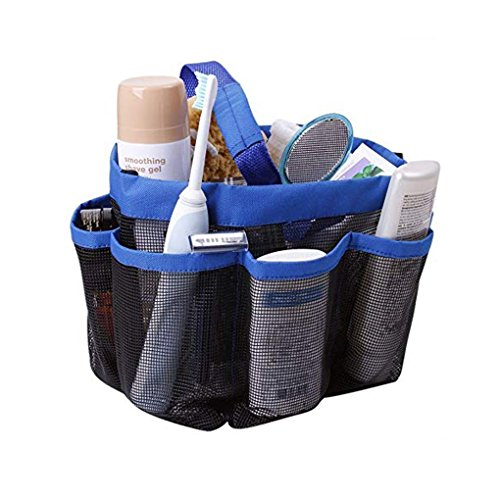 Quick Dry Mesh Shower Caddy, Hanging Shower Tote Bag Toiletry Bath Organizer Makeup Comestic Storage Bag Basket with 8 Storage Pockets for Home Gym Travel Dorm Bathroom Washing Bag Case with Handle ()