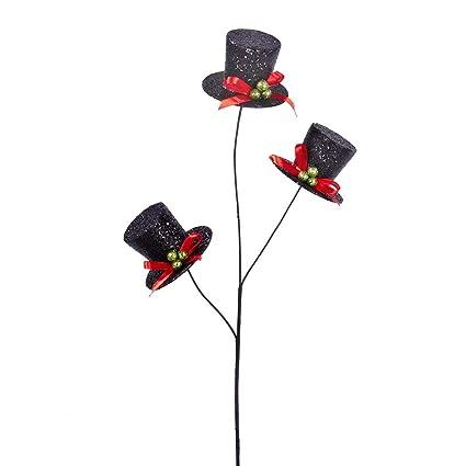 a1fd23307 Amazon.com: Homeford Snowman Top Hat Christmas Tree Pick, Black, 19 ...