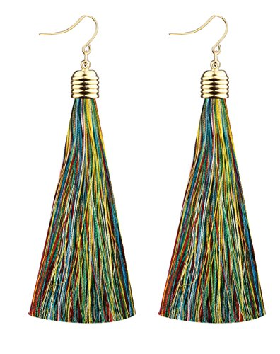Mina Gold Long Tassel Draping 4 inch Drop Extra Long Shoulder Duster Rainbow Earring
