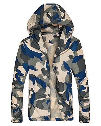 Jacket Elegante Uomo Sciolto Giallo Camo Grande Militare Blu Traspirante Giacca Cappotto 0xaRdxw