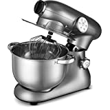 Gourmia EP700 7-Quart 6 Speed Stand Mixer, Planetery Action with Stainless Steel Bowl 650 Watts ETL Rated 1000 Watts Maximum- Silver- Includes Free Recipe Book - 110/120V