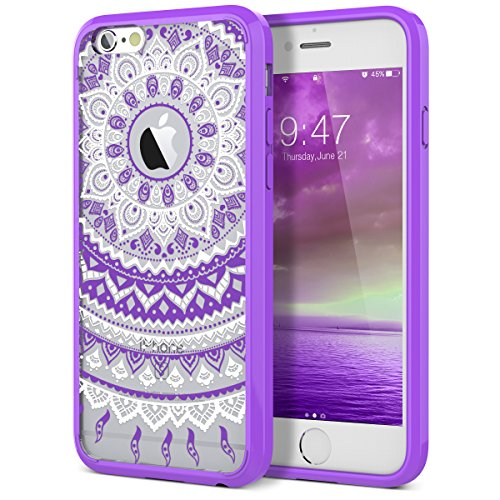 SmartLegend iPhone 6S Case, iPhone 6 Case,Totem Series Shock Absorption Hard PC + TPU Bumper Mandala Floral Hybrid Protective Cover Case for Apple iPhone 6/6S- Purple