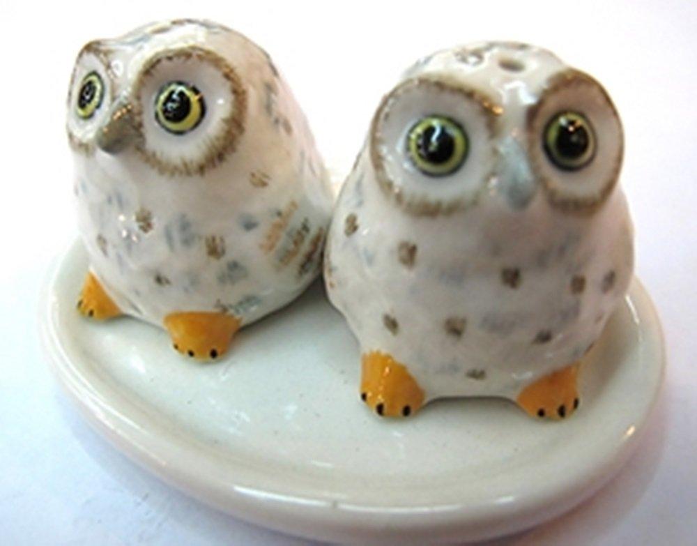 ChangThai Design Dollhouse Miniatures Ceramic Salt&Pepper Owl White/Yellow FIGURINE Animals Decor by ChangThai Design