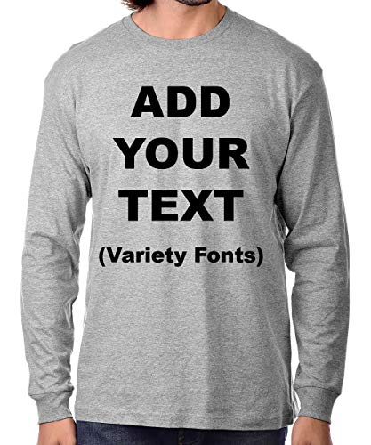 Custom Long Sleeve Premium t Shirts Add Your Own Text for Men & Women Unisex Cotton [ HeatherGray/M ]