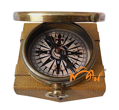 MAH 'Robert Frost Poem'' Engraved Antiquated Finish Brass Compass Embossed Needle & Stamped Leather Case. C-3241 by MAH