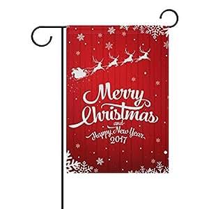 KOTWDQ equitación Trineo de Papá Noel Reno Decorativo jardín Bandera Banner poliéster 12x 18Pulgadas Bienvenido Bandera Vacaciones de impresión de Doble Cara Bandera de Jardín f18368