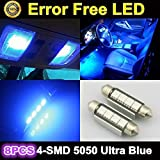 Partsam 8 x Ultra Blue LED Bulbs 42MM Festoon 4SMD Error Free Dome Map Light 212-2 For 2007-2012 Ford F-250 Super Duty