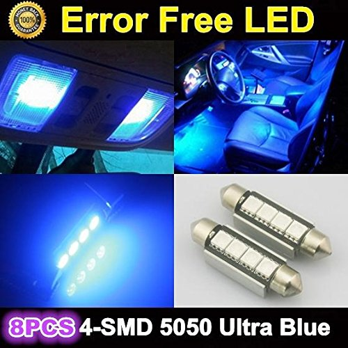 Partsam 8 x Ultra Blue LED Bulbs 42MM Festoon 4SMD Error Free Dome Map Light 212-2 For 2007-2012 Ford F-250 Super Duty by Partsam