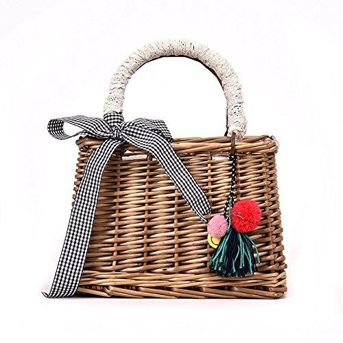 Rattan Vintage (Wicker Woven Handbag Hand Bag Environmental Protection Basket)