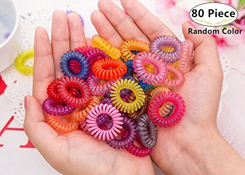 80 Piece Spiral Hair Ties, Magnoloran Multicolor Elastic Ponytail Holders Phone Cord Traceless Hair Bands Plastic Hairbands Rings Suitable for All Hair Types